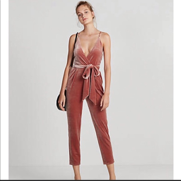 Express Dresses & Skirts - Express peach colored velvet jumpsuit